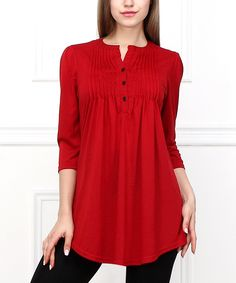 Red Pin Tuck Notch Neck Tunic