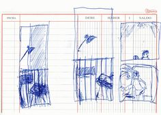 """Apunte: Finestres 004   Apunte  """"Finestres 004""""  Ventanas 004  Bolígrafo sobre papel  147 x 204 cm  2002  Barcelona  apuntes: ventanas libro 2002-01 / 2002-10"""