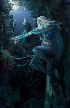 Elf ranger by bonnie tang - elf, elfes, elves - art of fantasy Elfen Fantasy, 3d Fantasy, Fantasy Warrior, Fantasy Women, Elf Warrior, Elfa, Fantasy Artwork, Fantasy Creatures, Mythical Creatures