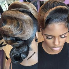 Like, who even knew that hair could look like this? This Hairstylist Thinks Her Stunning Retro Looks Belong In An Art Museum And She's Goddamn Right Black Hair Updo Hairstyles, Retro Hairstyles, Black Girls Hairstyles, African Hairstyles, Braided Hairstyles, Bun Hair, Beautiful Hairstyles, Wavy Hair, Wedding Hairstyles