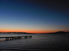 08 Oct. 5:46 夜明け前の博多湾です。 before dawn  ( Morning  at Hakata bay in Japan )