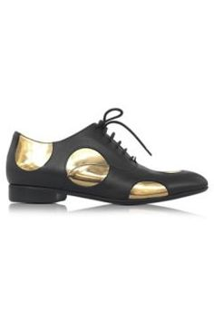 Marni Black Leather Oxford Shoe w/Gold Metallic Polka Dots https://modasto.com/marni/kadin-ayakkabi/br3211ct13 #modasto #giyim