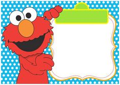 Blue Elmo Invitation Template For Boys