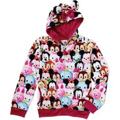 Tsum Tsum Girls' Character Collage Sublimated Zip Up Hoodie with Bow & Ears on Hood, Size: XL, White