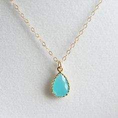Tiffany Blue Teardrop Necklace. Gift for Her. Bridesmaid Gift. Simple Modern Jewelry by PetitBlue
