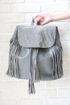 Suede Flap Tassel Backpack - Grey