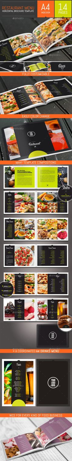 Food Restaurant Menu Brochure / Bi-Fold Template #design Download: http://graphicriver.net/item/food-restaurant-menu-brochure-bifold-template/13161264?ref=ksioks