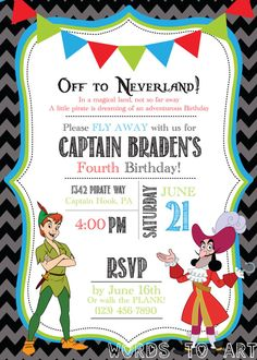 CUSTOM Captain Hook and Peter Pan Birthday Invitations -- Pirate Party