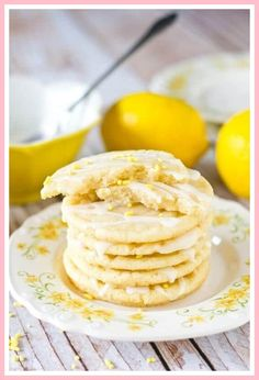 Lemon Sugar Cookies by Tastes of Lizzy T. Light, tangy, crisp on the outside, chewy on the inside, soft sugar cookies with a lemon glaze drizzle. Better than a bakery! Crockpot Dessert Recipes, Crock Pot Desserts, Apple Recipes, Cookie Recipes, Steak Recipes, Chicken Recipes, Dinner Recipes, Sugar Cookie Cutout Recipe, Cut Out Cookie Recipe