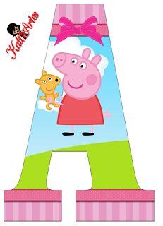 Alphabet Peppa Pig in the Field with Puppy. Alphabet Peppa Pig in the Field with Puppy. Peppa Pig Birthday Decorations, Peppa Pig Birthday Cake, Happy Birthday Cards, Unicorn Birthday, Invitacion Peppa Pig, Cumple Peppa Pig, Peppa Pig Teddy, Pig Crafts, Pig Party