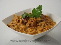 Dahi Papad Ki Sabzi - Moong papads cooked in a spicy yogurt gravy make a delicious curry.