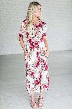 Harper Floral Midi - Ivory