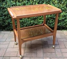Great vintage 2 tier teak look wooden drinks, side table, serving trolley tray mobile made in Victoria, Australia 1960s   This cart is made up of teak ..., 1140766651