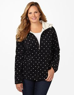 Polka Dot Riverside Fleece Coat: The softest style of the season, our new jacket comes in brushed fleece on the outside and an even cozier fleece inside. Our polka dot print is perfect for adding a pop of pattern to your favorite outfits. Zip opening with flourish zip pull. Fleece hood. Princess seams. Long sleeves with scalloped ends. catherines.com #catherines #plussizefashion #fallstyle #plussizecoat