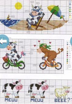 Clube Vaquinha Malhada / Club Spotted Fluffy Cow: A Vaquinha da Semana / The Little Cow of the Week : Esquema de Ponto Cruz com Vacas / Scheme for Cross Stitch with Cows Cross Stitch Cow, Cross Stitch For Kids, Cross Stitch Kitchen, Cross Stitch Bookmarks, Cross Stitch Animals, Cross Stitch Kits, Cross Stitch Charts, Easy Yarn Crafts, Everything Cross Stitch