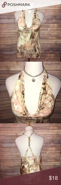 Express Draped Neck Strappy Back Halter Style Top Super cute and sexy cream colored Draped Neck halter with peach and brown snakeskin print. Unique strappy back design. Super soft, silky and stretchy. Excellent quality and condition. Check out my other listings to bundle and save 25% 😎! Express Tops