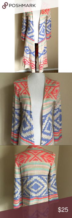 "🆕Aztec Tribal Open Duster Cardigan Light and perfect for spring or a summer's night. Great condition except for slight run shown in last two pics. Not noticeable at all. Open style so back seam to seam is about 15"" so I'd say this would fit a small or extra small despite the ""large"" tag. Length 39.5"" Sweaters Cardigans"