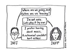 The difference between a J and a P. I'm totally a P.  INFJ/INFP Cartoon from http://infjoe.wordpress.com