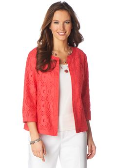 Cute and cheerful, this jacket blends a lovely lace body with solid, woven trim for an on-trend textured look. Its no-closure design is just right for layering above a favorite printed tee. #CBK #workfashion #fashion