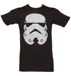 Mens Black Star Wars Stormtrooper Face T-Shirt
