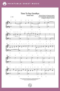 Time To Say Goodbye by Andrea Bocelli & Sarah Brightman Piano Sheet Music Printable Sheet Music, Digital Sheet Music, Our Father Lyrics, Song Notes, Hard Words, Sarah Brightman, Reading Music, Piano Sheet Music, Piano Lessons