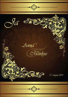 Hochzeitseinladung Ametrin Gold Klappkarte in Orange von