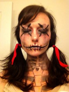 Voodoo doll Skull makeup, halloween