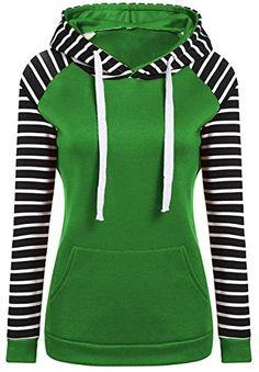 Cruiize Womens Pullover Striped Kangaroo Pocket Slim Fit Hooded Sweatshirt