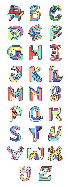 tipografias-diferentes-alfabeto-escada-non-impossible different-typefaces-alphabet-ladder-not-impossible - Alphabet Design, Alphabet Fonts, Letter Fonts, 3d Alphabet, Monogram Fonts, Calligraphy Fonts, Typography Letters, Quote Typography, Typography Inspiration