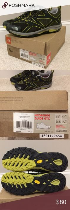 The North Face - Men's trail running / hiking Brand new pair with original box and packaging. Style: M Hedgehog Guide GTX size 11. Color: black/dark grey/ yellow green pop. The iconic waterproof hedgehog is now even lighter and faster with innovative cradle guide technology. UPPER: Pu-coated leather toe cap for durability. Seamless, no-sew, welded, synthetic-leather forefoot. Welded, synthetic, overlay-reinforced midfoot. GORE-TEX extended comfort range waterproof, breathable membrane…