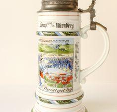 Vintage Regimental Beer Stein by A K Kaiser Reservist Soldier Pewter Lid Corner Bar, German Beer Steins, Miniature Figurines, Pewter, Vintage, Tin, Vintage Comics