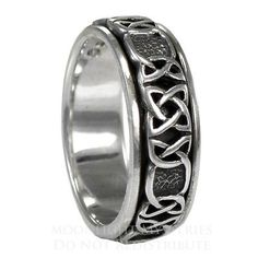 Celtic Knot Spinner Ring Rotating Worry Band Sterling Silver SS Jewelry sz 4-15