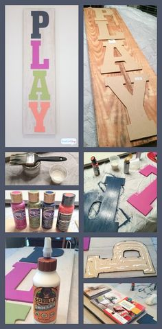 Love this handpainted wood sign for the playroom. And it's easy to make with paint and letters from the craft store.