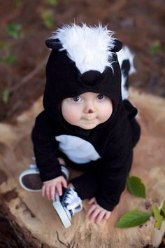 Pottery Barn skunk or raccoon costume hack - grab a black onesie.  Glue or sew felt to front.  Use some white fur down the back and hanging for the tail!