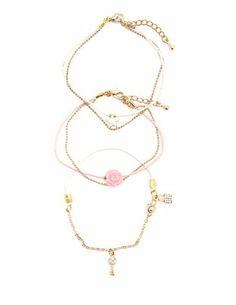 Star, Rose & Key Friendship Bracelets - 3 Pack: Charlotte Russe