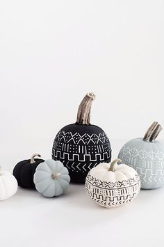 Painted Pumpkins, DIY, Mud Cloth - 12 DIY ideas for decorating your home this Halloween on HOUSE - design, food and travel by House & Garden.