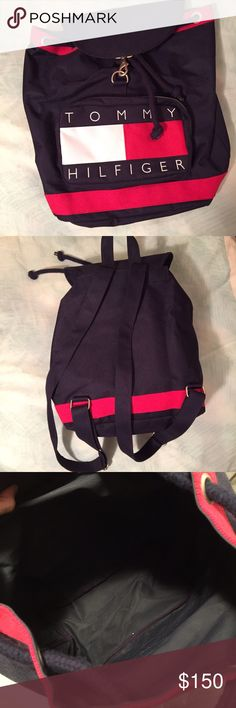 Vintage 90s Tommy Hilfiger Logo Backpack! Flawless condition vintage 90s Tommy Hilfiger logo spell out backpack! Has Tie at top that is adjustable, a flap closure with a clasp, two adjustable straps, and a pocket on the front that zips! I am taking offers on this, so feel free to send them! Tommy Hilfiger Bags Backpacks
