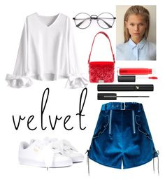 """velvet shorts"" by talfashion on Polyvore featuring self-portrait, Puma, Off-White, MAC Cosmetics and Lancôme"