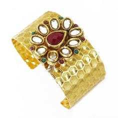 Cuff Bracelet: Goldtone metal jewelry with maroon and green stones Steel Jewelry, Green Stone, Jewelry Bracelets, Fashion Jewelry, Turquoise, Silver, Cuffs, Gold, Stones