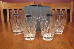 *NIB* Set Of Four Waterford Marquis Highball Glasses ~ Brookside Pattern ~ Nice!