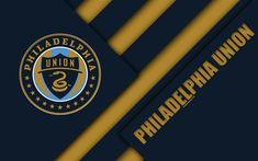 Download wallpapers Philadelphia Union, material design, 4k, logo, blue brown abstraction, MLS, football, Philadelphia, Pennsylvania, USA, Major League Soccer