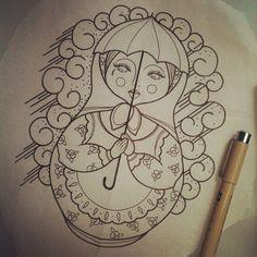 1_Silly_Silje_russian_doll_rain_rainy_day_sketch_art_artist_tattoo.jpg (612×612)
