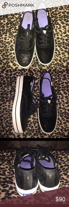 KATE SPADE BLACK GLITTER KEDS Need a little sparkle in your life? Thick sole. Great style. Keds Shoes Sneakers