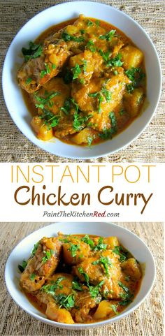 Instant Pot Chicken Curry - to make Low-Carb - skip the potatoes or use rutabaga or parsnips instead.Creamy, delicious, Indian Instant Pot chicken curry is made with bone-in chicken, cooks up so tender, and has lots of flavor. From Paint the Kitchen Red Instant Pot Pressure Cooker, Pressure Cooker Recipes, Pressure Cooking, Pressure Cooker Chicken Curry, Easy Chicken Curry, Ip Chicken, Authentic Indian Chicken Curry, Authentic Indian Recipes, Yellow Curry Chicken