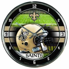 New York Jets Round Chrome Wall Clock by Wincraft Sports Chrome Wall Clock, Grey Wall Clocks, B 13, New York Jets, New Orleans Saints, Jaba, Chrome Plating, Sports Fan Shop, Nfl