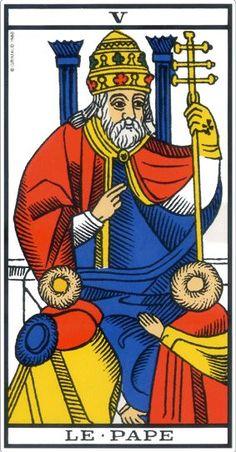 Le Pape dans le tarot de Marseille, figure paternelle du tarot.