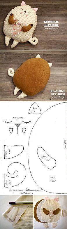 "Подушка котенок ""Сплюшка"". Мастер-класс | Умелые ручки"