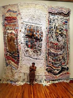Aso Ikele crochet afghan quilt fiber art fabric textile- SO damn beautiful! Sculpture Textile, Textile Fiber Art, Textile Artists, Art Du Fil, Creative Textiles, Weaving Textiles, Contemporary Abstract Art, Art Plastique, Fabric Art