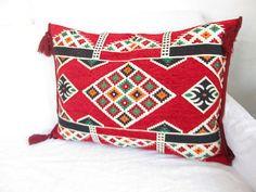 Wowen Pillow // Vibrant Red Woven pillow // Lumbar by asiapillow, $50.00