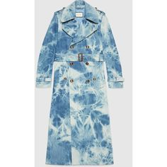 Gucci Tie-dye denim trench coat featuring polyvore, women's fashion, clothing, outerwear, coats, denim trench coat, trench coat, gucci, blue coat and denim coat
